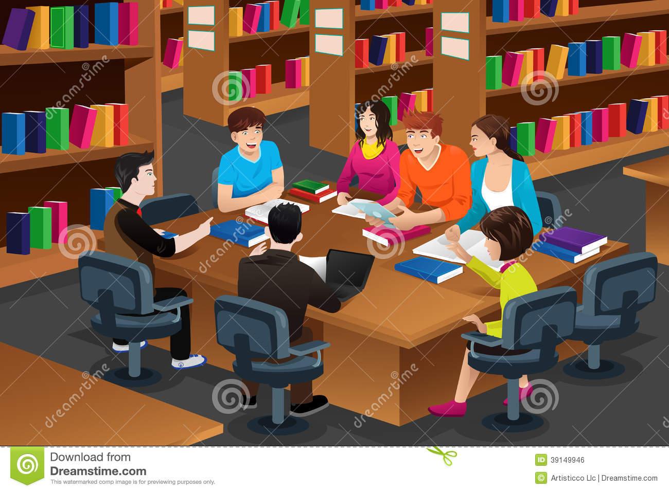 Biblioteca y pulgares adultos
