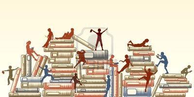 8627229-ilustraci-n-editable-de-ni-os-leyendo-y-trepar-sobre-pilas-de-libros