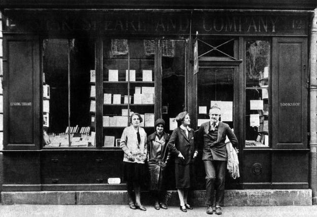Ernest Hemingway and Sylvia Beach infront of the 'Shakespeare and Company' bookshop, Paris, 1928 (b/w photo)