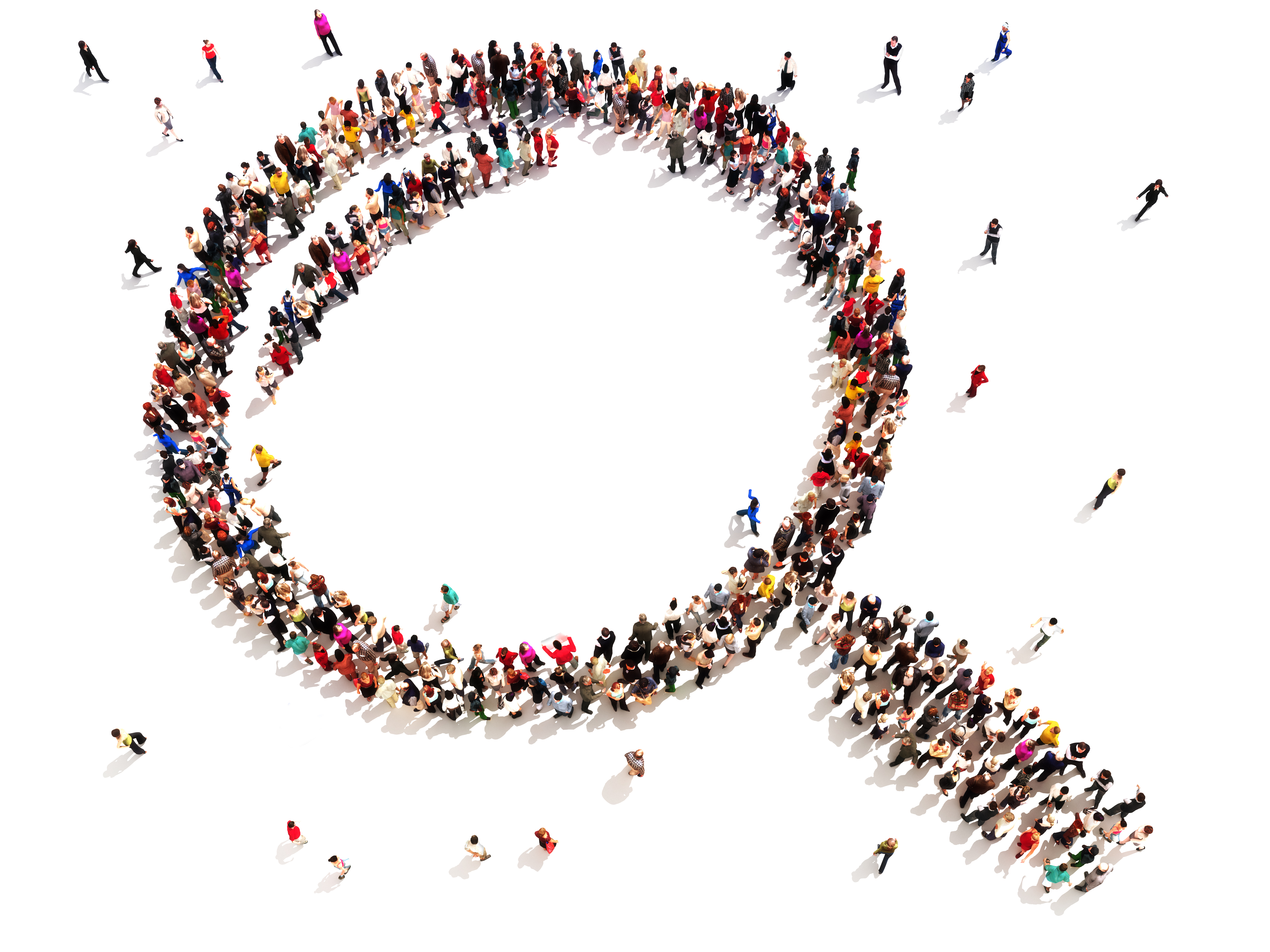 Large group of people in the shape of a magnifying glass.
