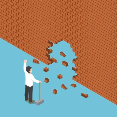 Isometric businessman use hammer breaking the wall